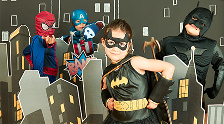 Superhero party with kids dressed up