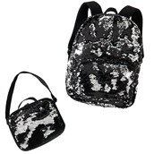 Black & Silver Backpack & Lunch Tote