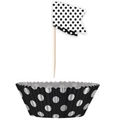 Black Dot Cupcake Wrappers with Picks