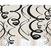 Black Plastic Swirl Decorations (12)