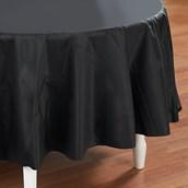 Black Velvet (Black) Round Plastic Tablecover