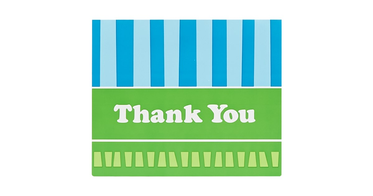 Blue and Green Thank You Notes (8) | BirthdayExpress.com