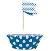 Blue Dot Cupcake Wrappers with Picks