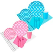 Boy or Girl Quatrefoil Party Pack (16)