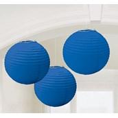 Bright Royal Blue Round Paper Lanterns (3)