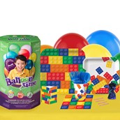 Building Block Party 16 Guest Kit with Tableware and Helium Kit