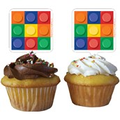 Building Block Party Cupcake Toppers (12 Pieces)