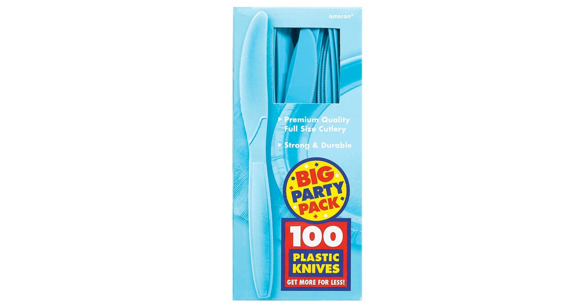 Caribbean Blue Favor Boxes : Caribbean blue big party pack knives birthdayexpress