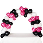 Celebration Tabletop Balloon Arch-Black, White & Hot Rose with White Dots