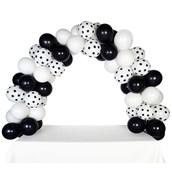 Celebration Tabletop Balloon Arch-Black, White & White with Black Dots