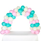 Celebration Tabletop Balloon Arch-Pink, Mint Green & Gold with White Dots
