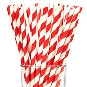 Cherry Striped Paper Straws (25)