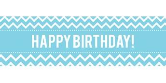 Chevron Blue Birthday Banner