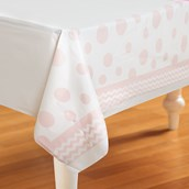 Chevron/Dots Classic Pink Plastic Tablecover