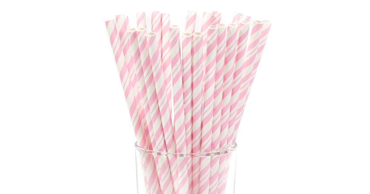 Pink Paper Straws 25pk