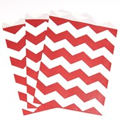 Classic Red Chevron Paper Treat Bags (10)