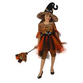 Deluxe Orange Kitty Witch Girls Costume