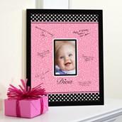 Diva Zebra Print 1st Birthday Framed Signature Matte