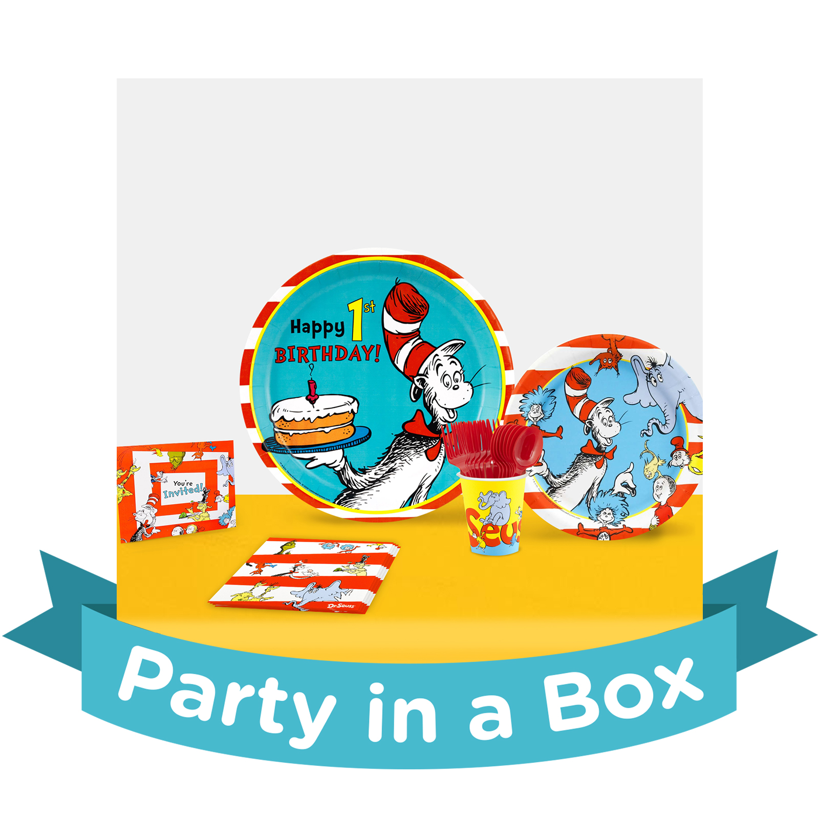 Dr. Seuss 1st Birthday Party in a Box For 16  sc 1 st  Birthday Express & 1st Birthday Tableware \u0026 Cake Supplies | BirthdayExpress.com
