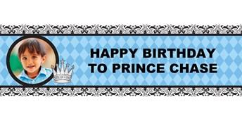 Elegant Prince Damask Personalized Photo Vinyl Banner
