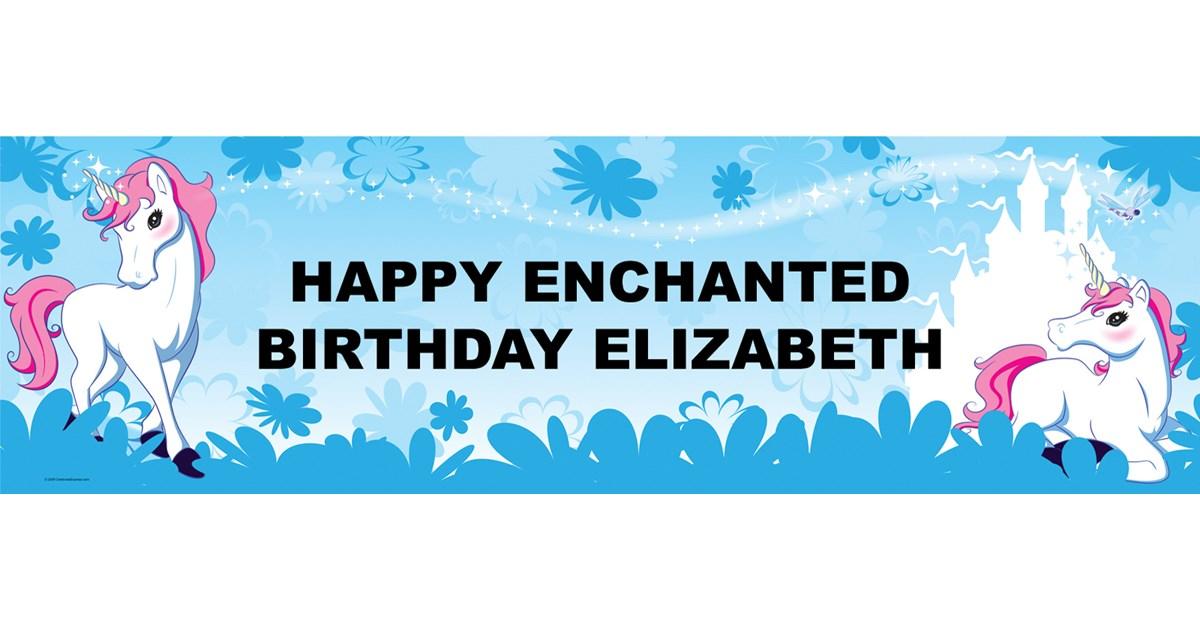 enchanted unicorn personalized vinyl banner