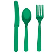 Festive Green Forks, Knives & Spoons (8 each)