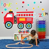 Fire Truck Giant Wall Decal