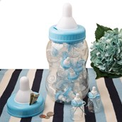 Giant Blue Baby Bottle Bank With 16 Small Bottle Favors