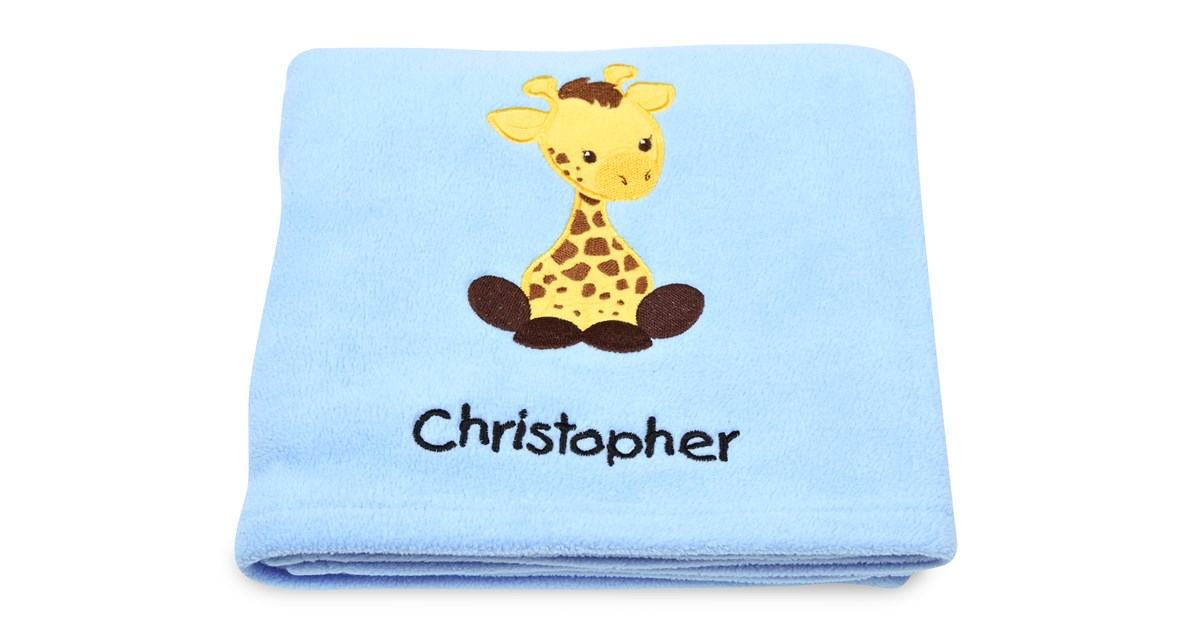 Giraffe applique fleece blanket embroidered