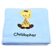Giraffe Applique Fleece Blanket - Embroidered