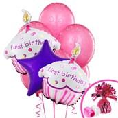 Girls Lil' Cupcake 1st Birthday Balloon Bouquet