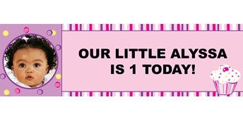 Girl's Lil' Cupcake Personalized Photo Vinyl Banner