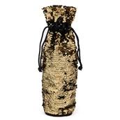 Gold & Black Reversible Sequin Wine Bag