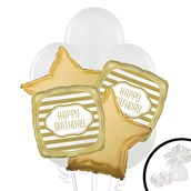 Gold and White Balloon Bouquet