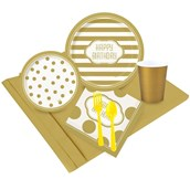 Gold and White Birthday Party Pack for 24