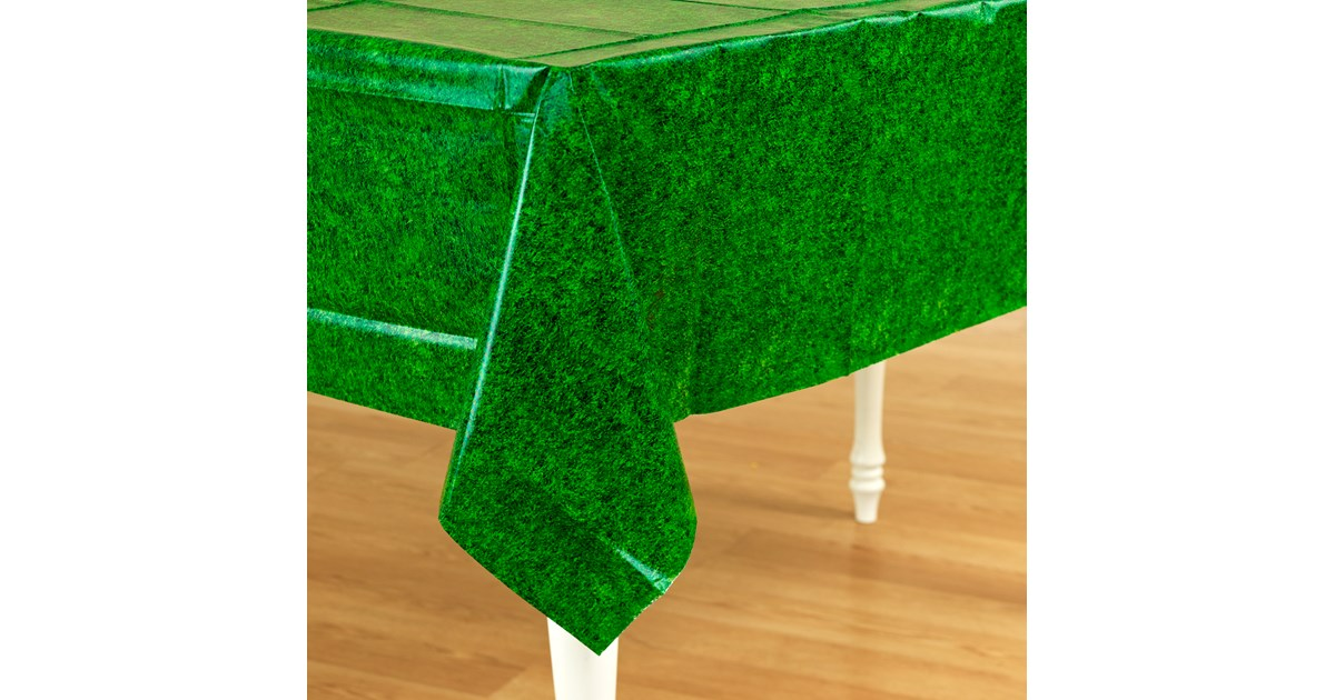 Green Grass Plastic Tablecover Birthdayexpress Com