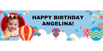Hot Air Balloon Party Personalized Photo Vinyl Banner