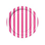 Hot Pink Stripe Dessert Plates