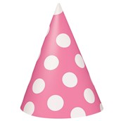 Hot Pink with White Polka Dots Cone Hats
