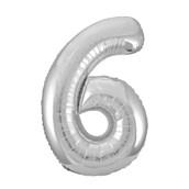 Jumbo Silver Foil Balloon-Number 6
