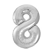 Jumbo Silver Foil Balloon-Number 8