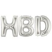 Jumbo Silver Foil Balloons-HBD
