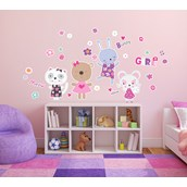 Kitten and Bunnies Giant Wall Decal