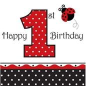 Ladybug 1st Birthday Napkins