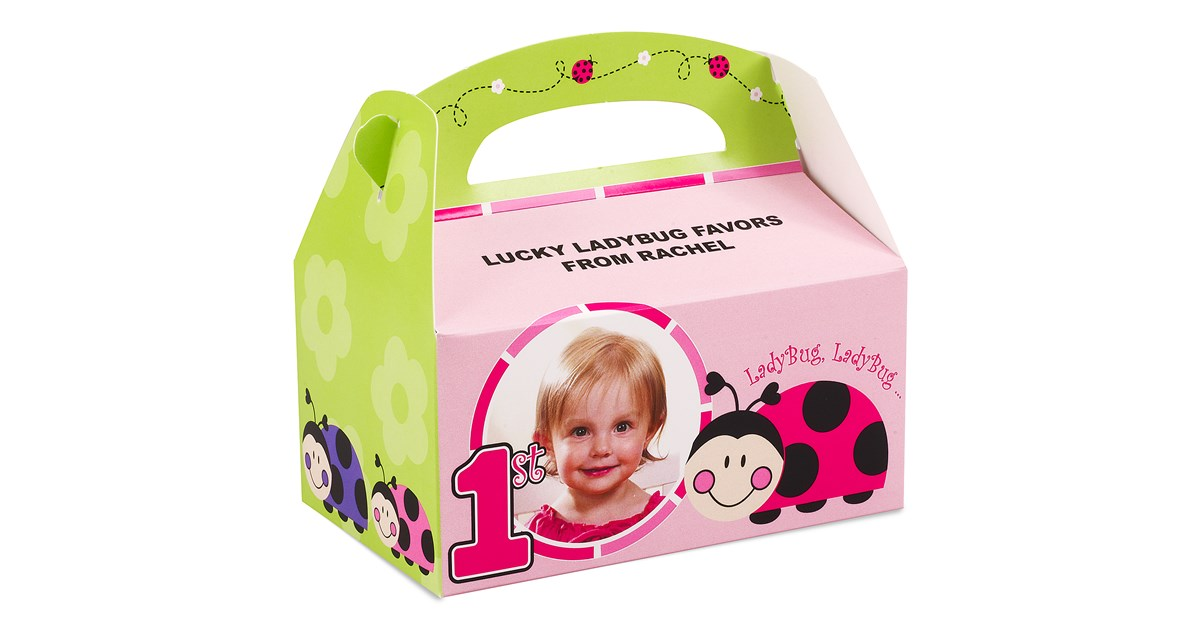 Personalized 1st Birthday Favor Boxes : Ladybugs oh so sweet st birthday personalized empty