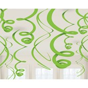 Lime Green Plastic Swirl Decorations (12)