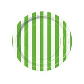 Lime Green Stripe Dessert Plates