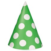 Lime Green with White Polka Dots Cone Hats