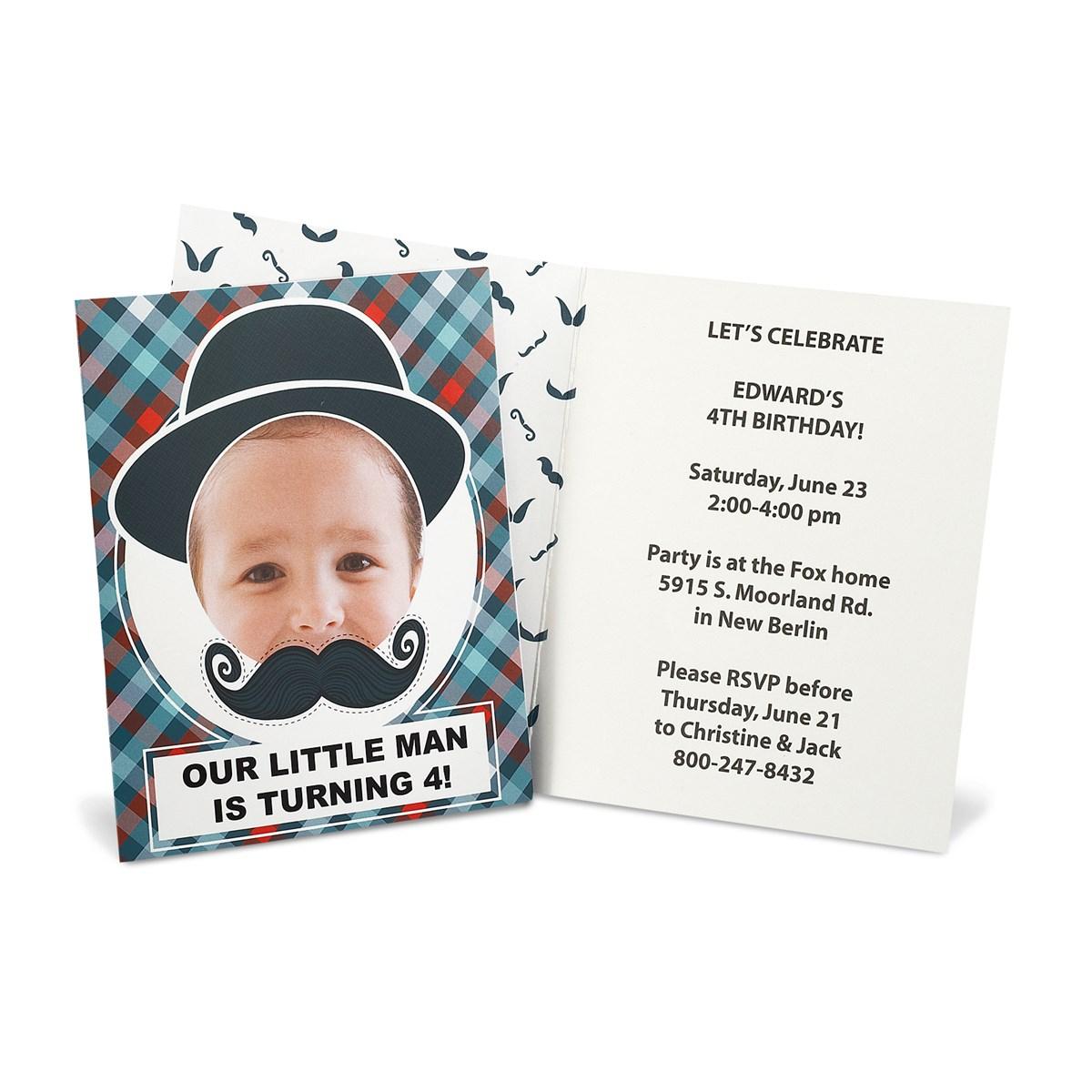 Little Man Mustache Personalized Invitations   BirthdayExpress.com