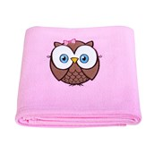 Look Whoo's 1 Pink Applique Fleece Blanket